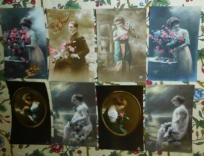 Estate 8 x 1910s French Costume Lady Cameo Portrait Photo Greeting Postcards