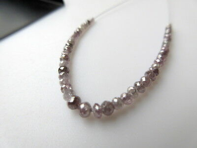 Rare 3 Inches Of 2mm to 3mm Faceted Round Ball Shaped Pink Purple Diamond Beads