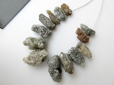 Huge 13 Pieces Natural Grey Red Rough Diamond Briolette Long Spike Beads DDS501