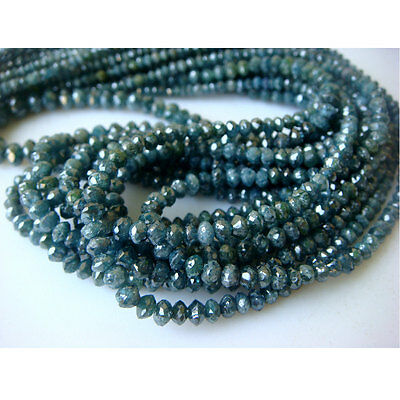 Natural Blue Diamond Faceted Beads 3mm-3.5mm Gemstone 40 Ctw 16 Inch Strand GS96