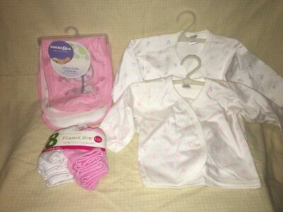 0-3 Months Baby Girl Lot Burp Rag Set, Socks, Button Top NEW BabiesRUS