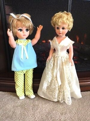 "P.M. Sales Inc. Doll 20"" Vintage 1960s Dolls with Clothing Accessories Lot of 2"