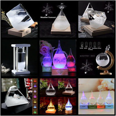 Crystal Water Weather Forecast Storm Glass Bottle Wooden Base Christmas Gift Hot