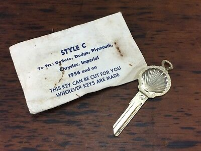 Vintage Shell Oil Co Blank Uncut Key To Suit Desoto Dogdge Plymouth Chrysler (C)