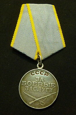 Original Russian Soviet SILVER Medal For Combat Service no SN Brass Mount USSR