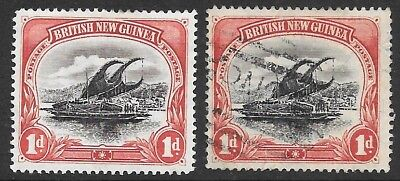 Png   2 British New Guinea Lakatoi Stamps   1 X Mint & 1 X Used