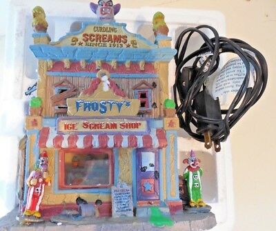 Spookytown Halloween decoration, Ice Scream Shop,  Lighted Building, Clowns