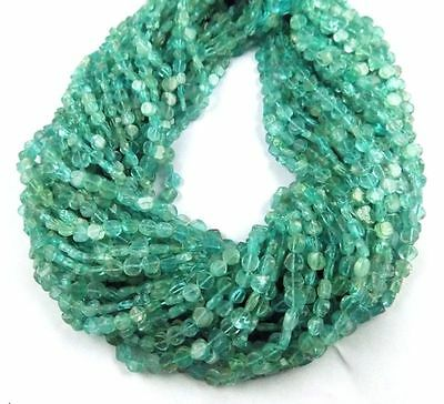 "5 Strands Natural Apatite Smooth Coin Shape Rondelles Size 5x6mm Beads 13"" Long"