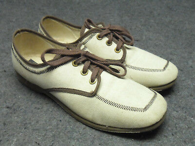 d2da13e8ed6b Brunswick Women s Bowling Shoes Tan w Brown Vintage Laced Size 7 M Made in  USA