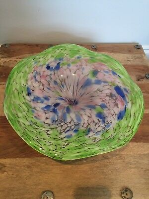 "14"" Hand Blown Art Glass Table Platter"