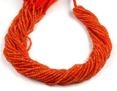 "5 Strands Natural Dark Carnelian Faceted Rondelle Gemstone Beads 2.5x3mm 13.5""L"