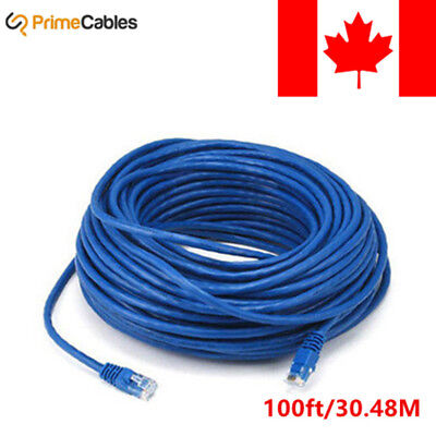 100FT Blue High Quality Cat5e 350MHz UTP RJ45 Ethernet Bare Copper Network Cable