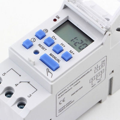 DIN RAIL Digital LCD 7 Day Weekly Programmable Timer Time Relay Switch AC THC