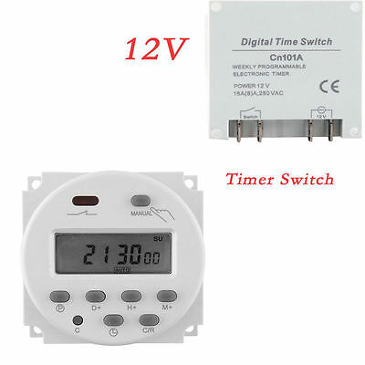 DC 12V 16A LCD Display Digital Power Programmable Timer Time Relay Switch