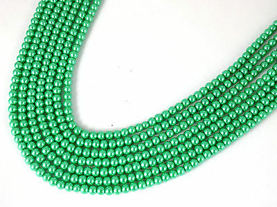 5 Strand Lime Green Glass Pearl Rondelle 4-4.5mm Smooth Gemstone Jewelry Beads