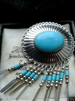 sterling silver turquoise brooch/pendant on silver chain