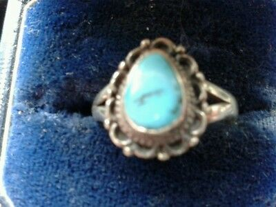 sterling silver turquiose ring.vintage.