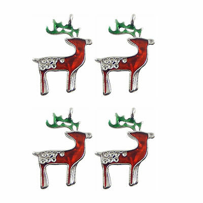 Bright Silver Alloy Colorful Enamel Xmas Reindeer Shaped Jewelry Crafts 8pcs