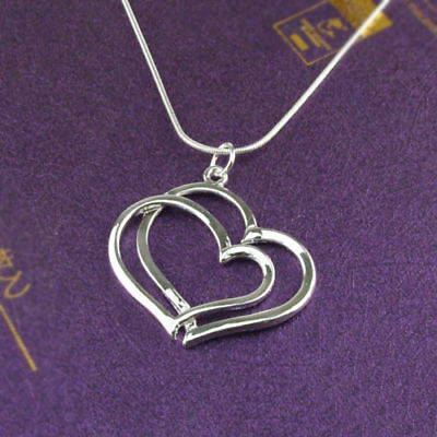 Silver Plated Pendant  Chain  Necklace   Ladies New   2 Heart  Charm Jewelry