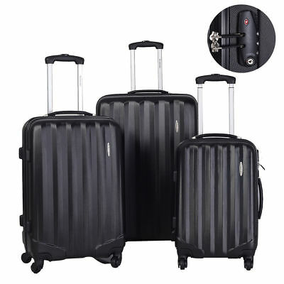3Pcs Luggage Travel Set Bag w/TSA Lock ABS Trolley Spinner Carry On Suitcase @3