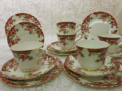 Vintage Royal Stafford Bone China Tea Set Pink Roses Olde English Garden Wedding