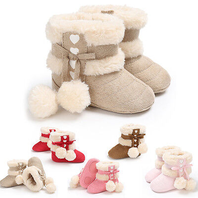 Girls Baby Newborn Toddler Boots Shoes Winter Soft Sole Prewalker Sneakers I0048