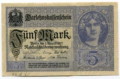 Original German  Five Mark Banknote 1 August 1917 WW1 Vimmy Ridge Passcendaele