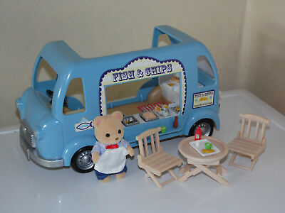 Sylvanian Families Fish and Chip Van Playset Vehicle with Figure & Accessories