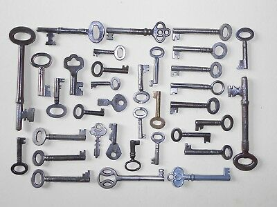 Collection Of 35 Small Antique & Vintage Keys Cabinet Writing Slope Padlocks Etc