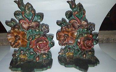 "Antique Floral Bouquet Cast Iron Bookends # 12511 6"" by 4"" Albany Foundry ??"