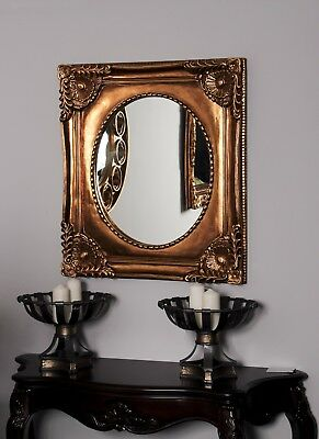 Gold French Shabby Chic Antique Style Rococo Wall Mirror Square Gilt