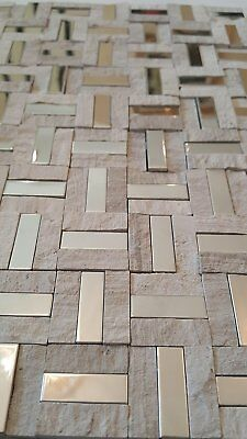 Sample of Stone Mosaic Tiles Beige Chrome Mix for Kitchen|Bathroom|Wall 8mm