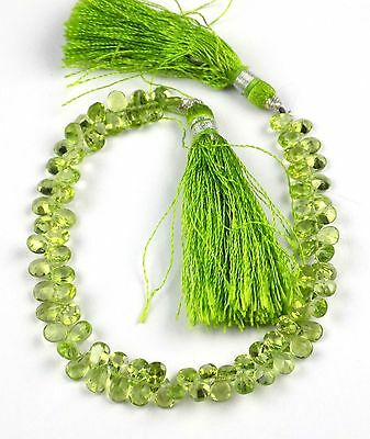 """1 Strand Natural Peridot Side Drilled Faceted Pear Shape 4x6mm Briolette 8"""" Long"""