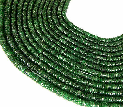 """5 Strands Natural Green Aventurine Tyre Wheel Shape 7-8mm 14"""" Long Smooth Beads"""