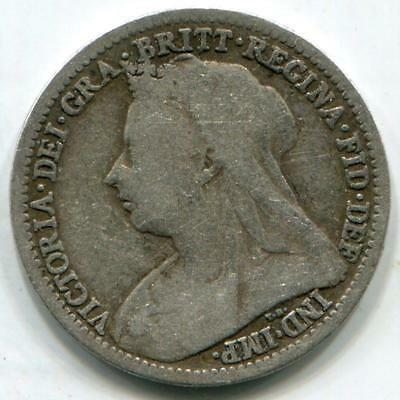 Solid Sterling Silver Vintage Threepence Queen Victoria 1899