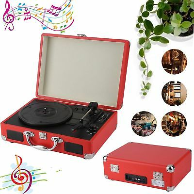 Popular Vintage Portable Suitcase Record Player with Bluetooth - Red VP
