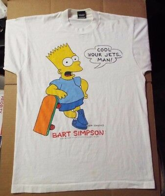 LARGE Vintage Bart Simpsons T-Shirt 1990 Cool Your Jets, Man! Screen Stars Best