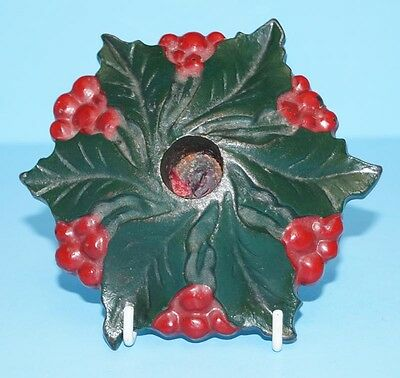 ANTIQUE CHRISTMAS HOLLY WITH BERRIES CAST IRON METAL ART CANDLE HOLDER 1920s