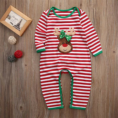US Newborn Infant Baby Boy Girl Christmas Romper Bodysuit  Pajama Clothes Outfit