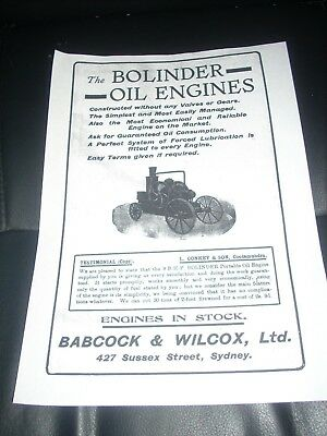 Advertising Old Bolinder Oil Engines  Babcock & Wilcox  Syd Paper
