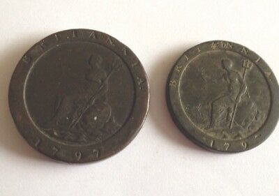 1797 George 111 Cartwheel Twopence And Penny