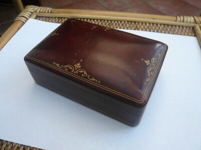 Super Quality Antique Old Edwardian Gents Italian Leather Desk Top Jewellery Box
