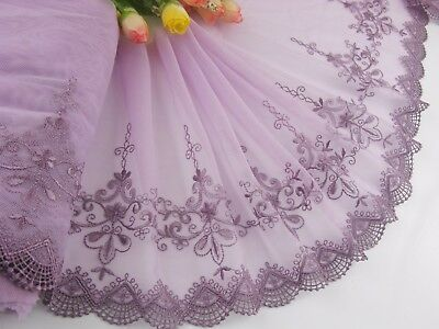 "8""*1yard Delicate Purple  Embroidered  flower  tulle Lace Trim DIY 0487"