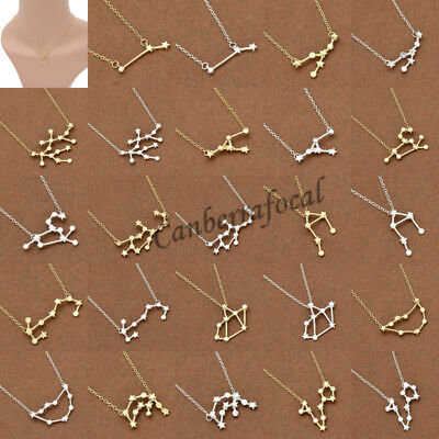 12 Constellation Zodiac Sign Necklace Astrology Amulet Charm Jewelry  Pendant