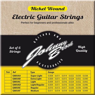Johnny Brook High Quality Nickel Wound Electric Guitar Strings String Pack Of 6