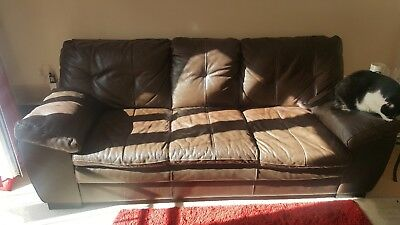 Three Seater Brown Leather Sofa - Very Good Condition