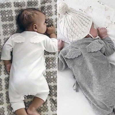 Cotton Newborn Baby Boy Girl Wing Romper Infant Bodysuit Jumpsuit Clothes Outfit