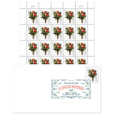 USPS New Celebration Boutonniere Keepsake with Digital Color Postmark