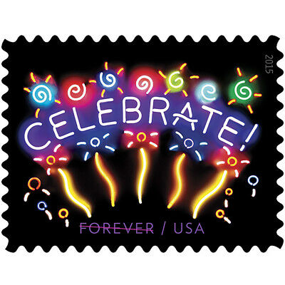 USPS New Neon Celebrate! Forever Stamp sheet of 20