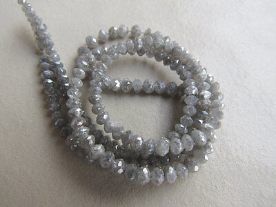 """Beautiful Rough Diamond Loose Beads Faceted White Raw 4mm-2mm 16"""" RS5"""